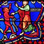 Hermogène ordonne aux démons de s'emparer de lui (médaillon existant du XIIIe siècle remplacé en 1848)