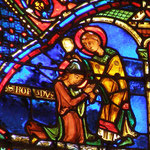 Il bénit saint Romain, un soldat qu'il a baptisé