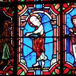 Le Christ parle avec une femme sans auréole puis tend sa main gauche et un homme et une femme marchent vers le Christ