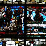 A gauche : Résurrection de Lazare - A droite : le repas chez Simon