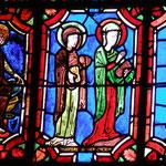 Une femme est assise sur un trône - 2 femmes se dirigent vers le Christ - Le Christ montre les remparts de Jérusalem