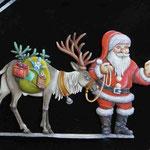 Le Père Noël et son ami le Renne, Plat d'étain 60 mm.
