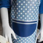 Kinderschürze Blau / Weiß gepunktet abwischbar
