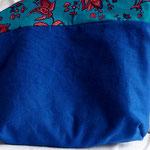 3) Handtaschenbegleiter Blau / Türkis kleines Blumenmuster