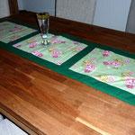 Tischläufer, Grün Rosenmuster
