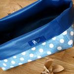 Stoffkorb, abwaschbar, Blau gepunktet