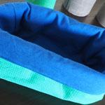Stoffkorb, Grünkariert-Blau, Groß