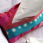 Taschentuch-Hülle Rosa-Blau gemustert