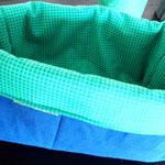 Stoffkorb, Blau-Hellgrün, Groß