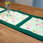 Tischläufer, Grün Rosenmuster, Dekomuster