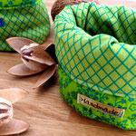 Stoffkorb Grün Blumenmuster, klein
