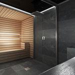 Vista de la ducha y la sauna desde el baño de vapor