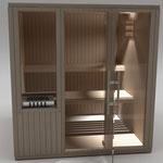 Sencilla, luminosa, compacta y práctica sauna privada para 2-3 personas