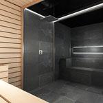 Vista del baño de vapor desde la sauna