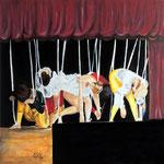 """""""Il teatro di Mangiafuoco"""":Acrilico su tela_50x50_2014"""