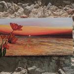 """Tramonto sul mare con papaveri""_2014"
