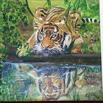 """""""Tigre allo specchio""""_acrilico su tela e tavola_30x30_2013"""