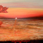 """""""Tramonto sul mare con papaveri""""_Acrilico su tela_40x80x4_2014"""