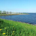 Blick vom Deich auf den Hafen von Andijk