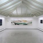 """""""Dünenland 1"""" - von Peter Caspary - ist mit 390 x 100 cm das größte Exponat in der Ausstellung in Otterndorf (links Bilder von Dirk H. Schäfer, rechts von Andreas Steffens)."""