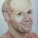 Christian, Rötel auf Zeichenpapier, ca. 30 x 40 cm. Fotovorlage: eigene