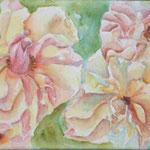 Brandy Roses, Aquarell auf Leinwand, ca. 60 x 20 cm, Fotovorlage: Sandra Grimlay, paintmyphoto.ning.com
