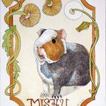Meerschweinchen meets Jugenstil, Aquarell, ca 30 x 40 cm, Fotovorlage: eigene