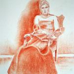 Waiting,  Rötel auf Zeichenpapier, ca. 30 x 40 cm. Fotovorlage: Tim Bredow, Paintmyphoto.ning.com