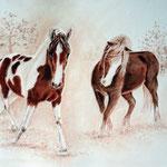 Schneefreude. Zeichenpapier, Rötel und Pan Pastels, ca 30 x 40 cm. Fotovorlage: Claus Streck