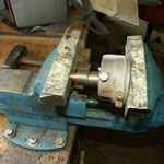 Pressing in new bushing. Reaming was not necessary, fit was losse but not tight.