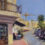"Tartarun on the Corner, Marsaxlokk. 12"" x 9"" .Oil on Panel."