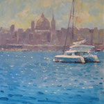 "Cat Moored off Valletta. 12"" x 9"". Oil on Panel."