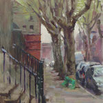 "'Synge Street Greens', 12"" x 9"" Oil on Panel"