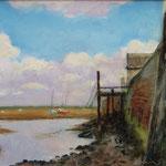 """'Quiet Staithe', Wells, Norfolk. Oil panel. 9"""" x 12""""."""