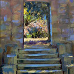 "To the Walled Garden, Lokrum. 9"" x 12"" Oil on Panel. SOLD"