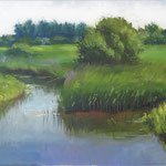 "Ford of Lyng, Rosslare. Oil on Canvas, 16"" x 30"""