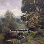 "Lock 21 on the River Barrow. Oil on Panel. 18"" x 14"""