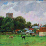 "'A View of St. Nicholas'Church', Wells, Norfolk. Oil panel. 11"" x 14""."