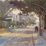 "Spring Morning on Strand Road. 11"" x 14"" Oil on Panel."