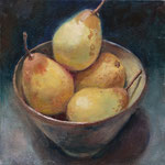 Pears in a Japanese Bowl. 8 x 8 inches. Oil on Canvas Panel. SOLD