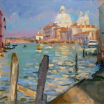 "FRom Accademia Bridge, Venice. 9"" x 12"" Oil on Panel. SOLD"