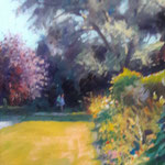 "Summer Border,  Marlfield House. Oil on Panel. 18"" x 12"""