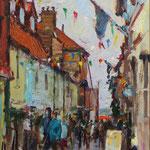 "'Staithe Street', Wells, Norfolk. Oil panel. 12"" x 9""."