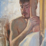 """Young Man. Oil on Panel, 18"""" x 14""""."""
