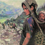 """Nepalese Mother and Child', 24x30"""" Oil on Canvas"""