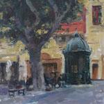 """Kiosk in St. John's Square, Valletta. Oil on Panel. 12"""" x 9"""". SOLD"""