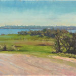 "Wexford Bay from Artramon, Crossabeg. Oil on Panel. 12"" x 24"""