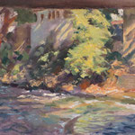 "Sunlit riverbank, Vresses'. Oil on panel, 9"" x 12"""