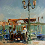 "Waiting for a Fare, Venive. 9"" x 12"" Oil on Panel. SOLD"