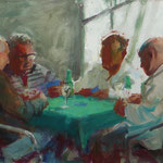 """'Card School', from life, Oil on Panel 14"""" x 18"""""""